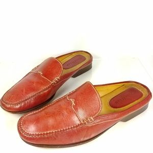 Cole Haan Red Leather Loafer Mules Sz 9AA